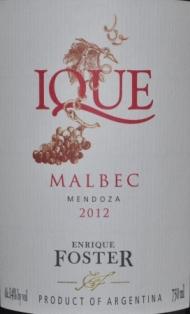 2012 Bodega Enrique Foster Ique Malbec Mendoza