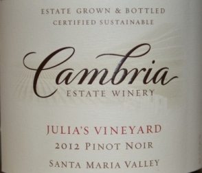2012 Cambria Julia's Vineyard Pinot Noir